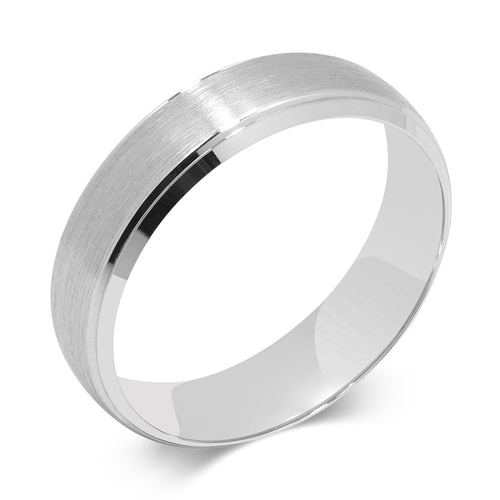 Palladium Brushed and Grooved Court Ring Thumbnail Image 0