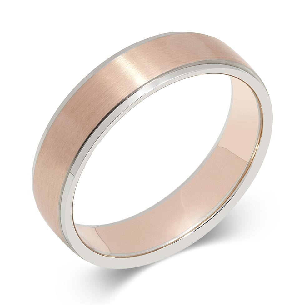 Palladium and 18ct Rose Gold Brushed Finish Wedding Ring Thumbnail Image 0