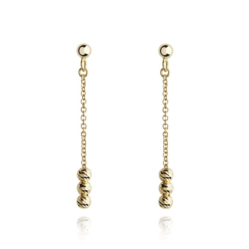 18ct Yellow Gold Bead Drop Earrings Image 1