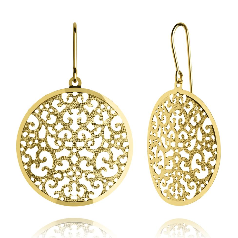 Maya 18ct Yellow Gold Disc Design Drop Earrings 25mm Thumbnail Image 0