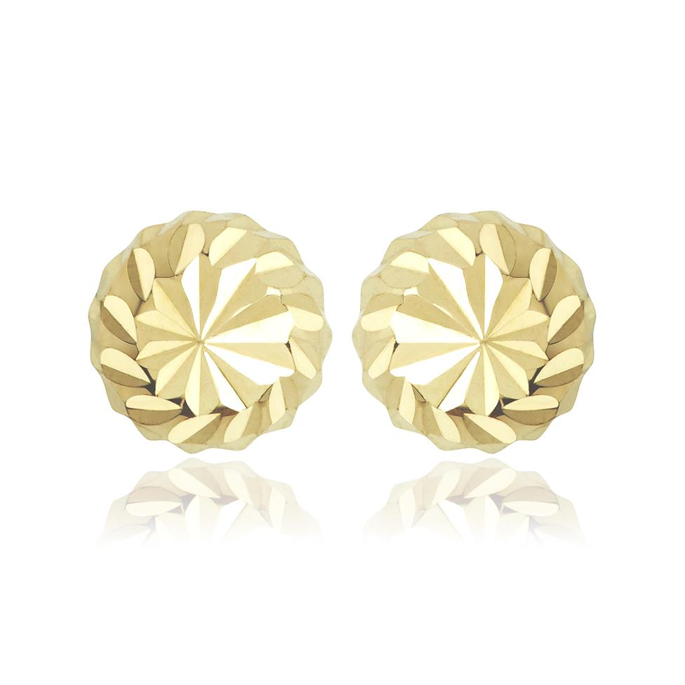18ct Yellow Gold Faceted Ball Stud Earrings Image 1