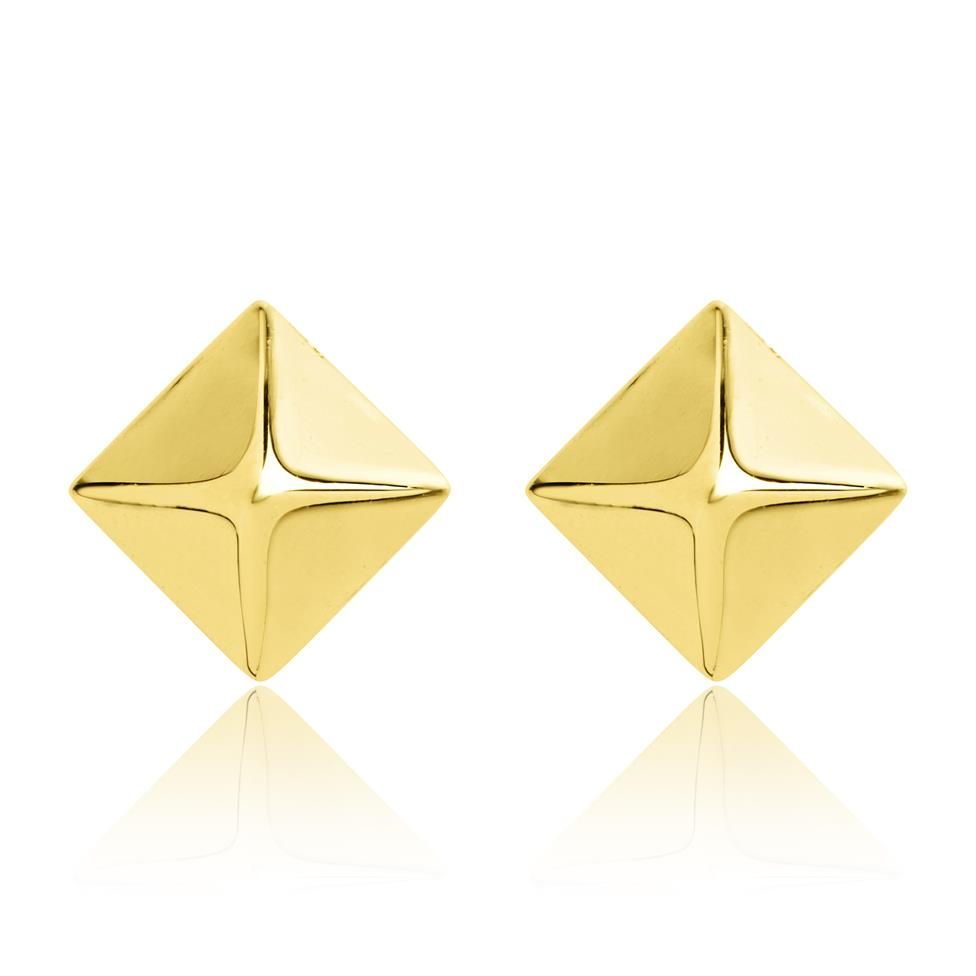 18ct Yellow Gold Pyramid Stud Earrings Image 1