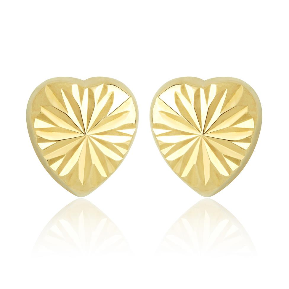 18ct Yellow Gold Faceted Heart Stud Earrings Image 1