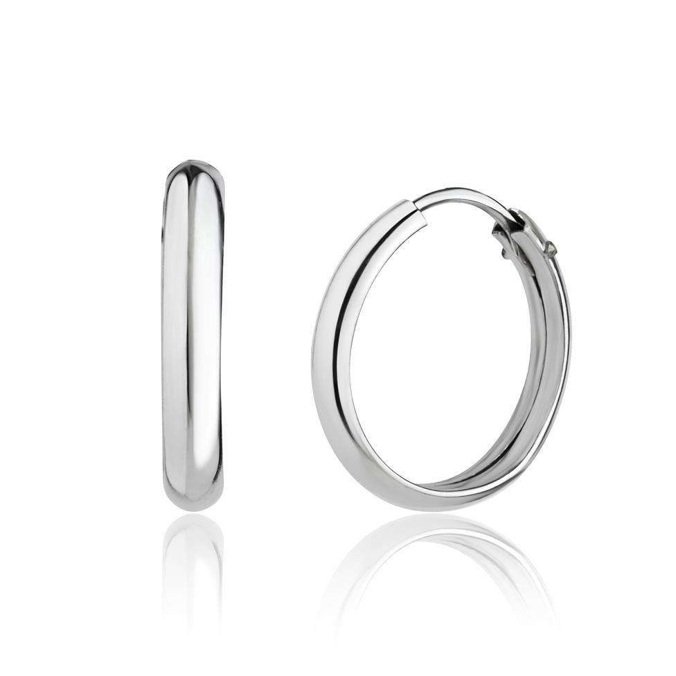 18ct White Gold D-Shape Hoop Earrings Image 1