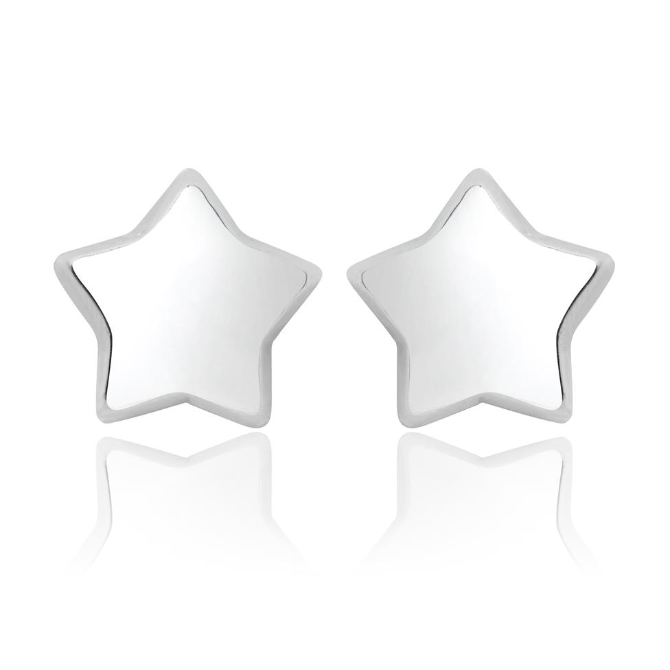 18ct White Gold Large Star Stud Earrings Image 1
