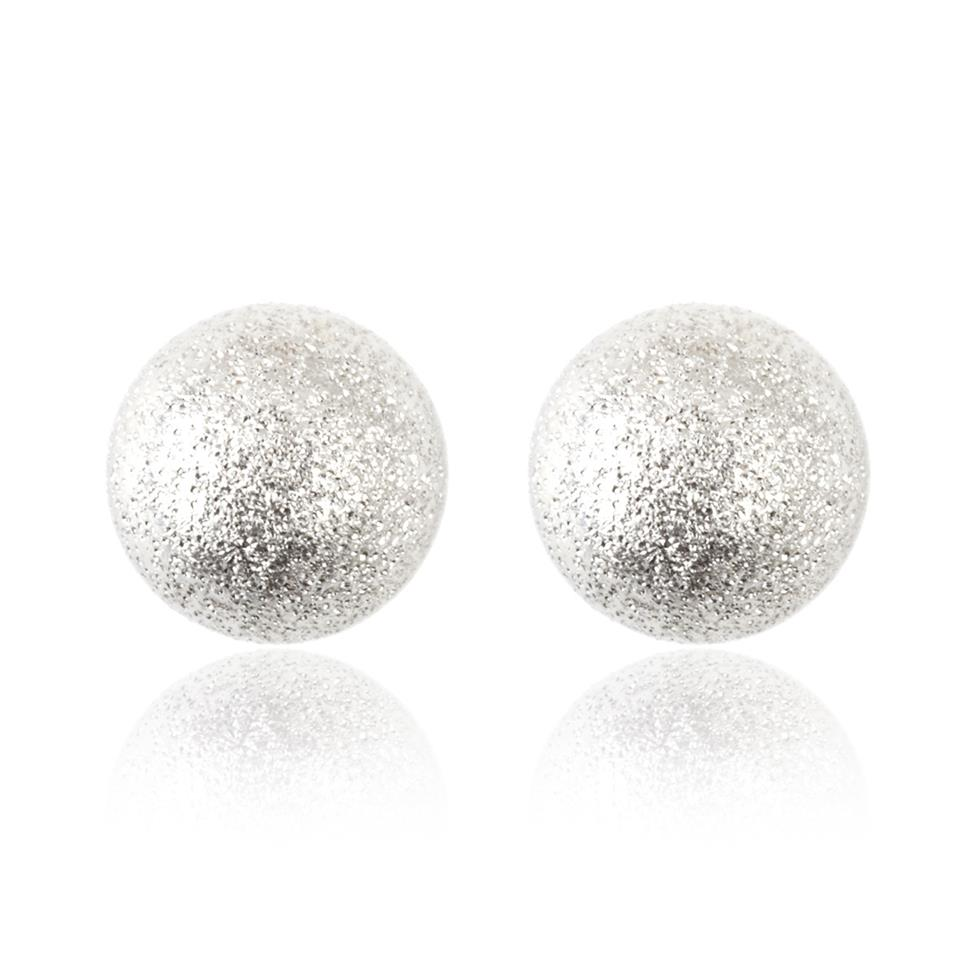 18ct White Gold Sparkle Ball Stud Earrings 7mm Thumbnail Image 0