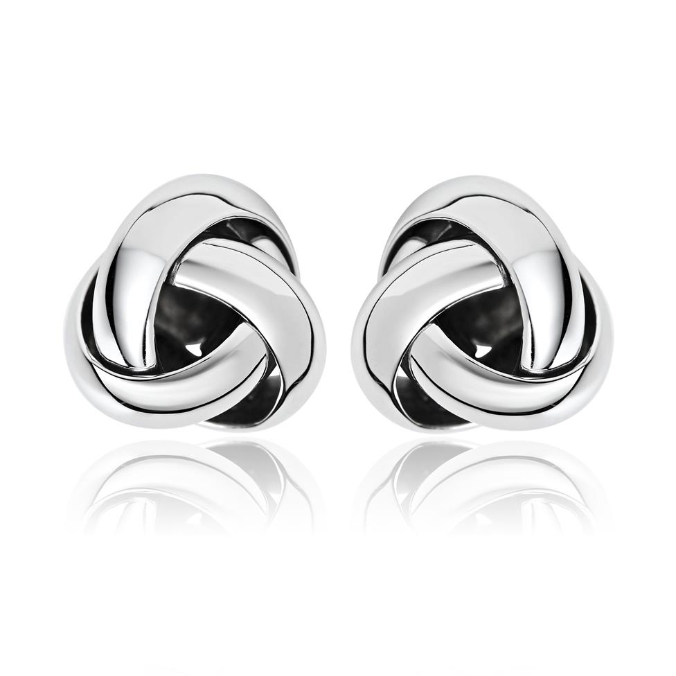 Echo 18ct White Gold Knot Design Stud Earrings Thumbnail Image 0