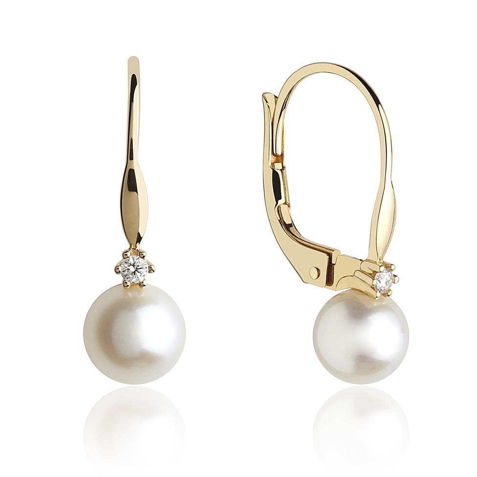 18ct Yellow Gold Freshwater Pearl and Diamond Drop Earrings  Thumbnail Image 0