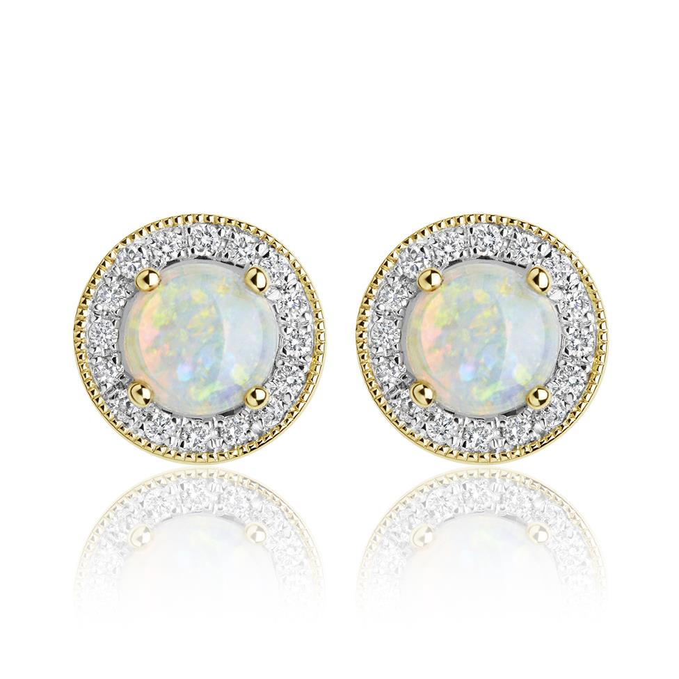 18ct Yellow Gold Opal and Diamond Cluster Stud Earrings  Thumbnail Image 0