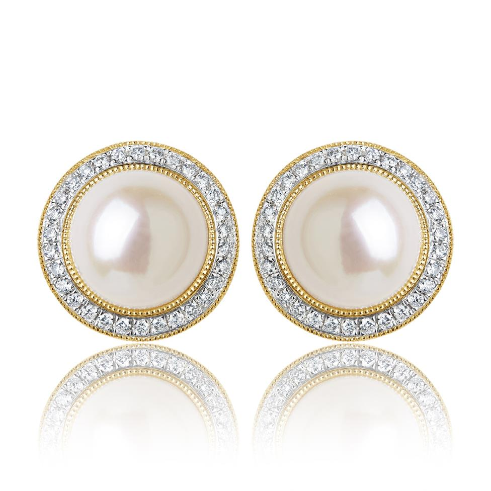 18ct Yellow Gold Pearl and Diamond Cluster Stud Earrings  Thumbnail Image 0
