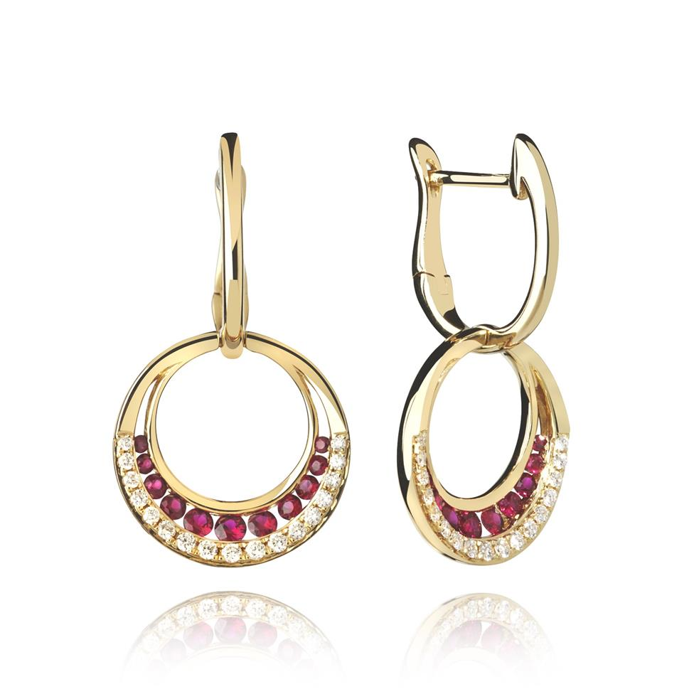18ct Yellow Gold Circle Ruby and Diamond Drop Earrings Image 1