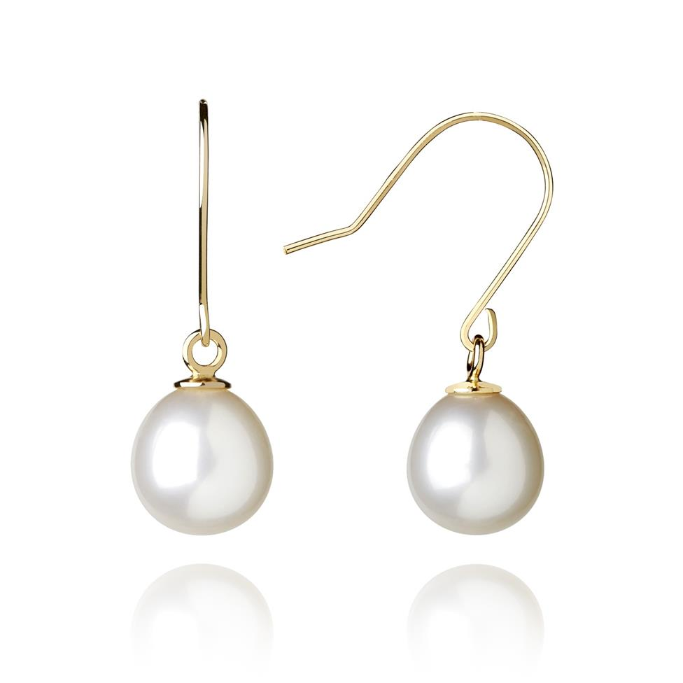 18ct Yellow Gold Freshwater Pearl Drop Earrings Image 1