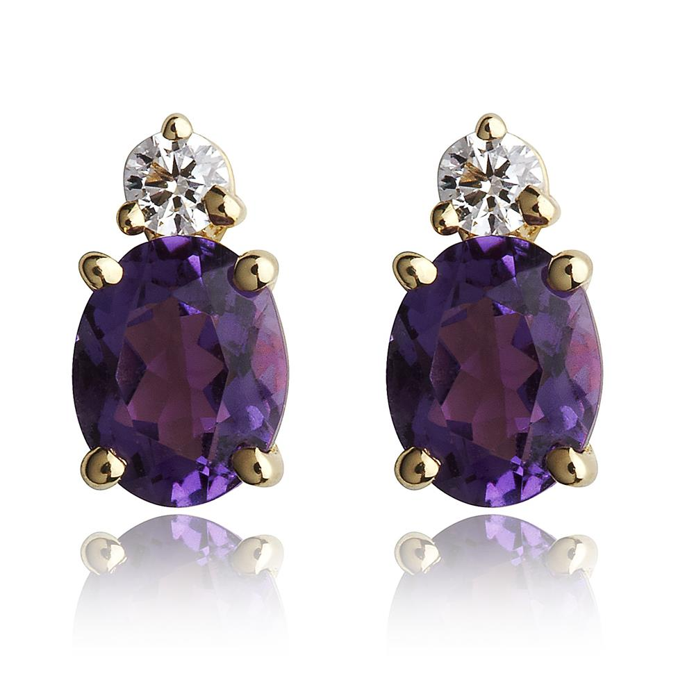 18ct Yellow Gold Oval Amethyst and Diamond Earrings Thumbnail Image 0