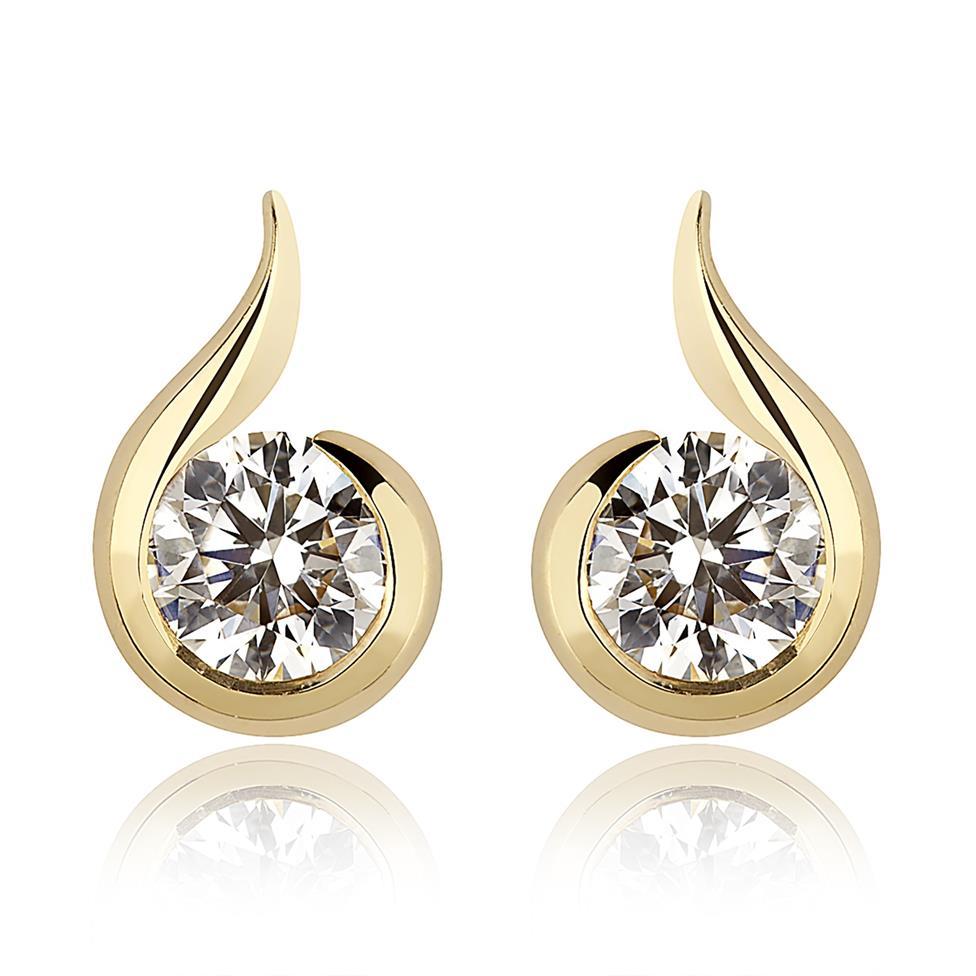 18ct Yellow Gold Diamond Swirl Design Stud Earrings Thumbnail Image 0