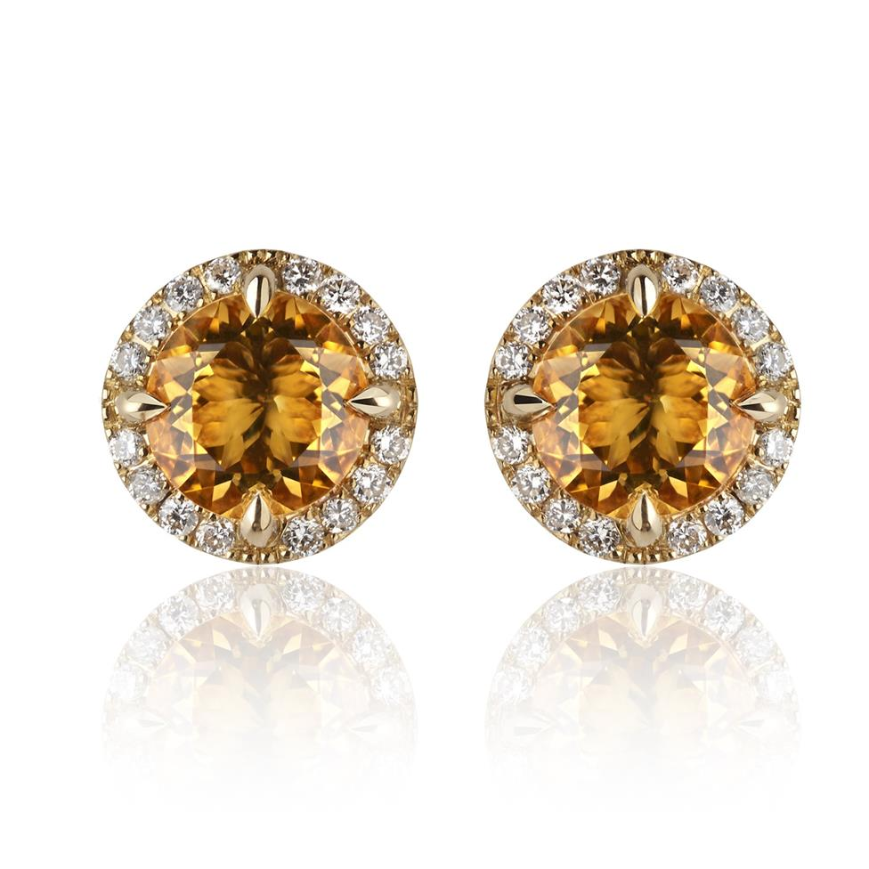 Camellia 18ct Yellow Gold Citrine and Diamond Stud Earrings Image 1