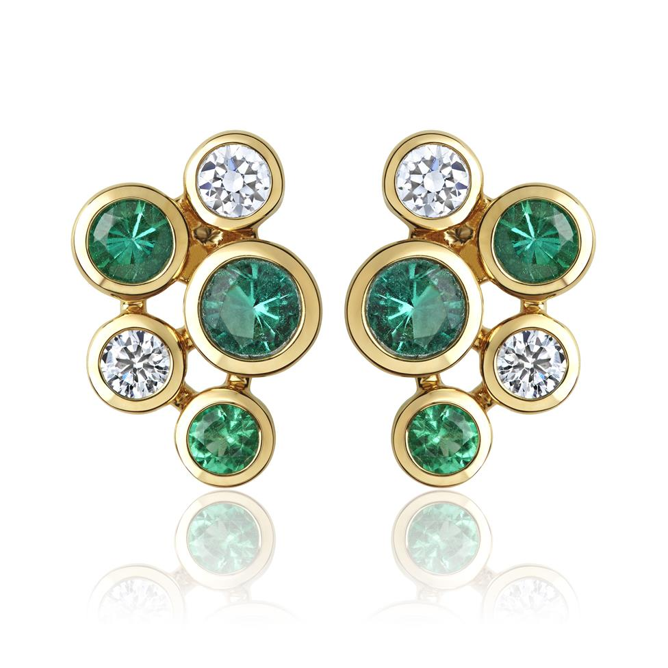 Alchemy 18ct Yellow Gold Emerald and Diamond Stud Earrings Thumbnail Image 0