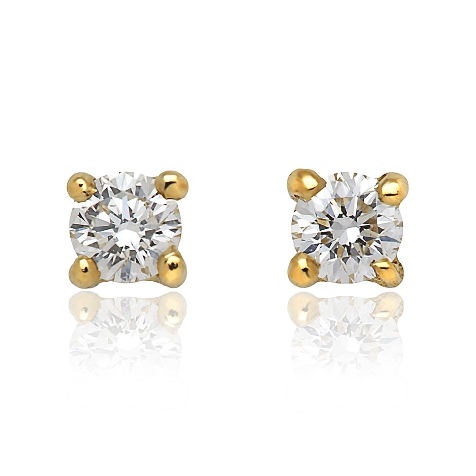 18ct Yellow Gold Diamond Solitaire Stud Earrings 0.15ct Thumbnail Image 0