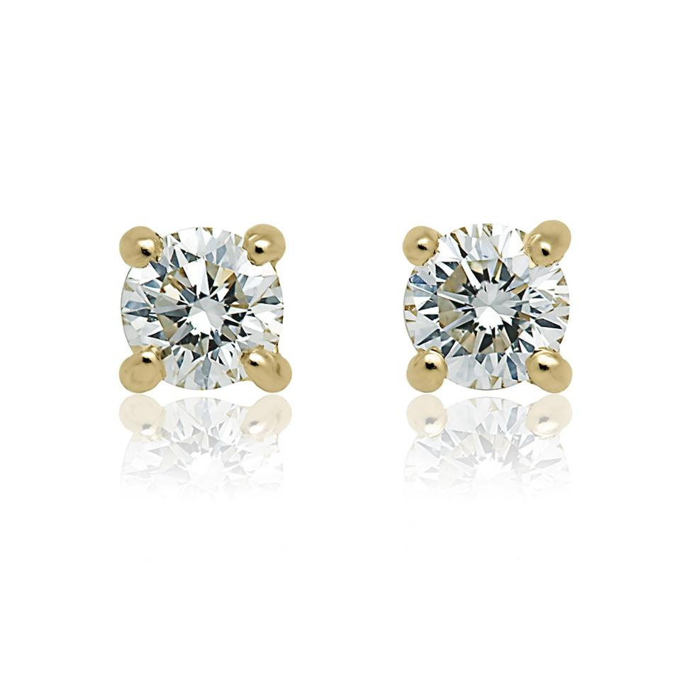 18ct Yellow Gold Diamond Solitaire Stud Earrings 0.33ct Thumbnail Image 0