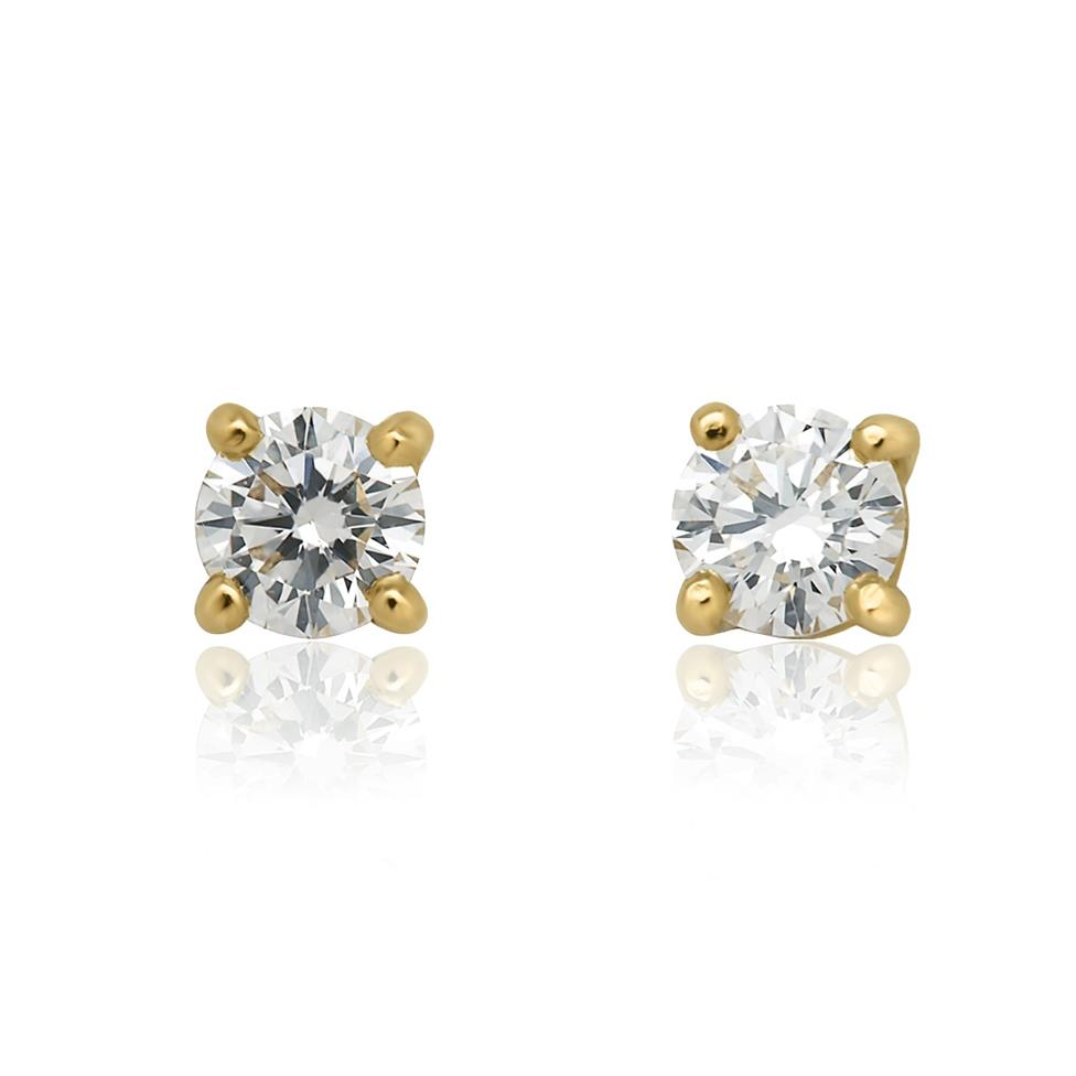 18ct Yellow Gold Classic 0.40ct Diamond Stud Earrings Thumbnail Image 0