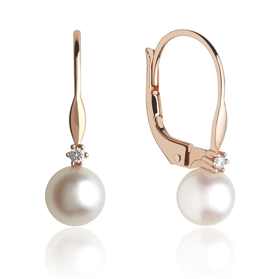 18ct Rose Gold Freshwater Pearl and Diamond Drop Earrings Thumbnail Image 0