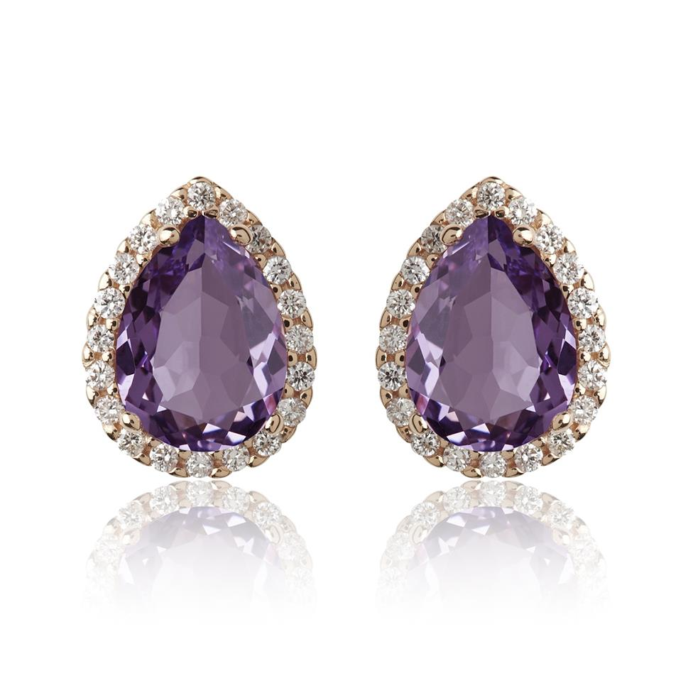 18ct Rose Gold Pear Shape Amethyst and Diamond Halo Stud Earrings Thumbnail Image 0