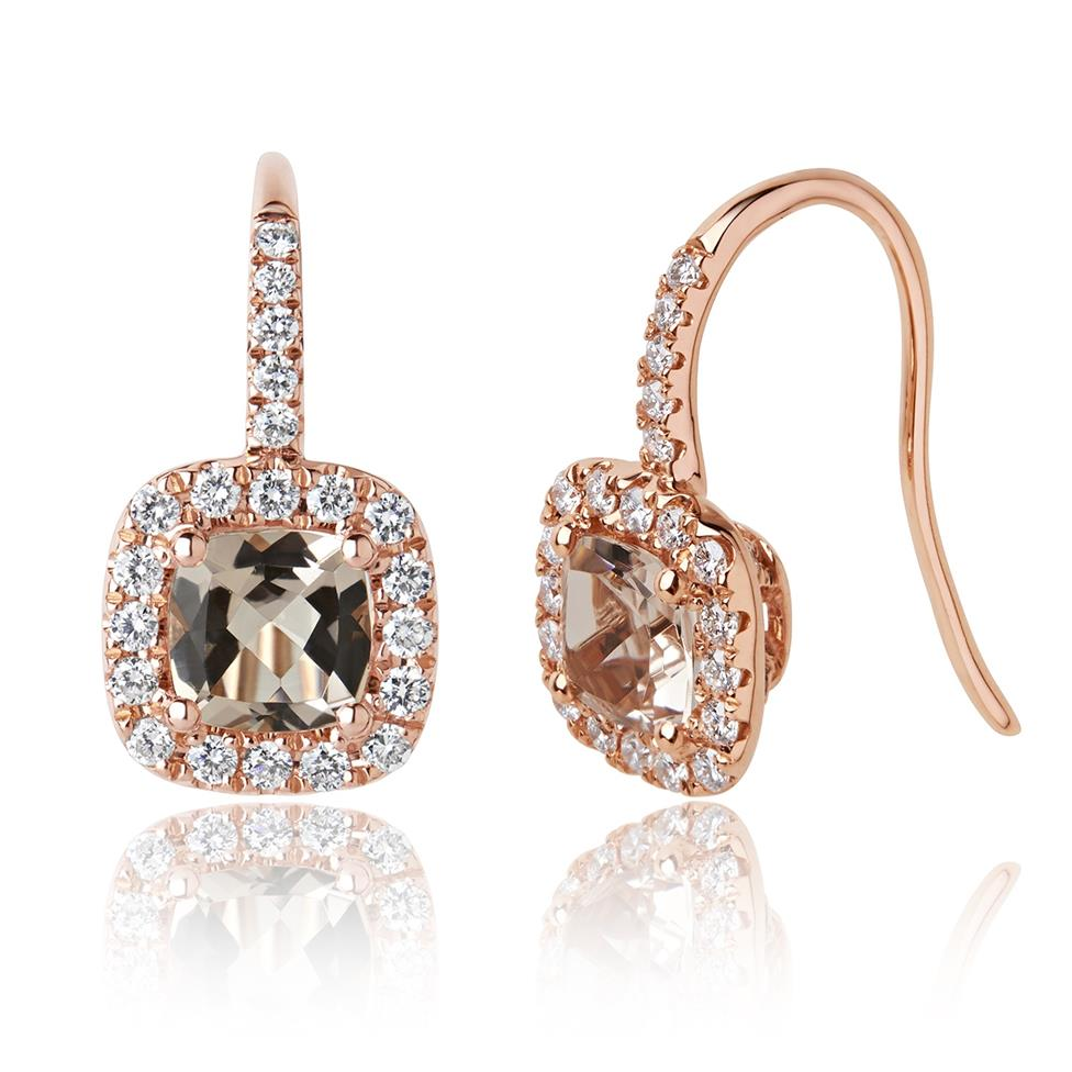 18ct Rose Gold Cushion Cut Morganite and Diamond Earrings Thumbnail Image 0