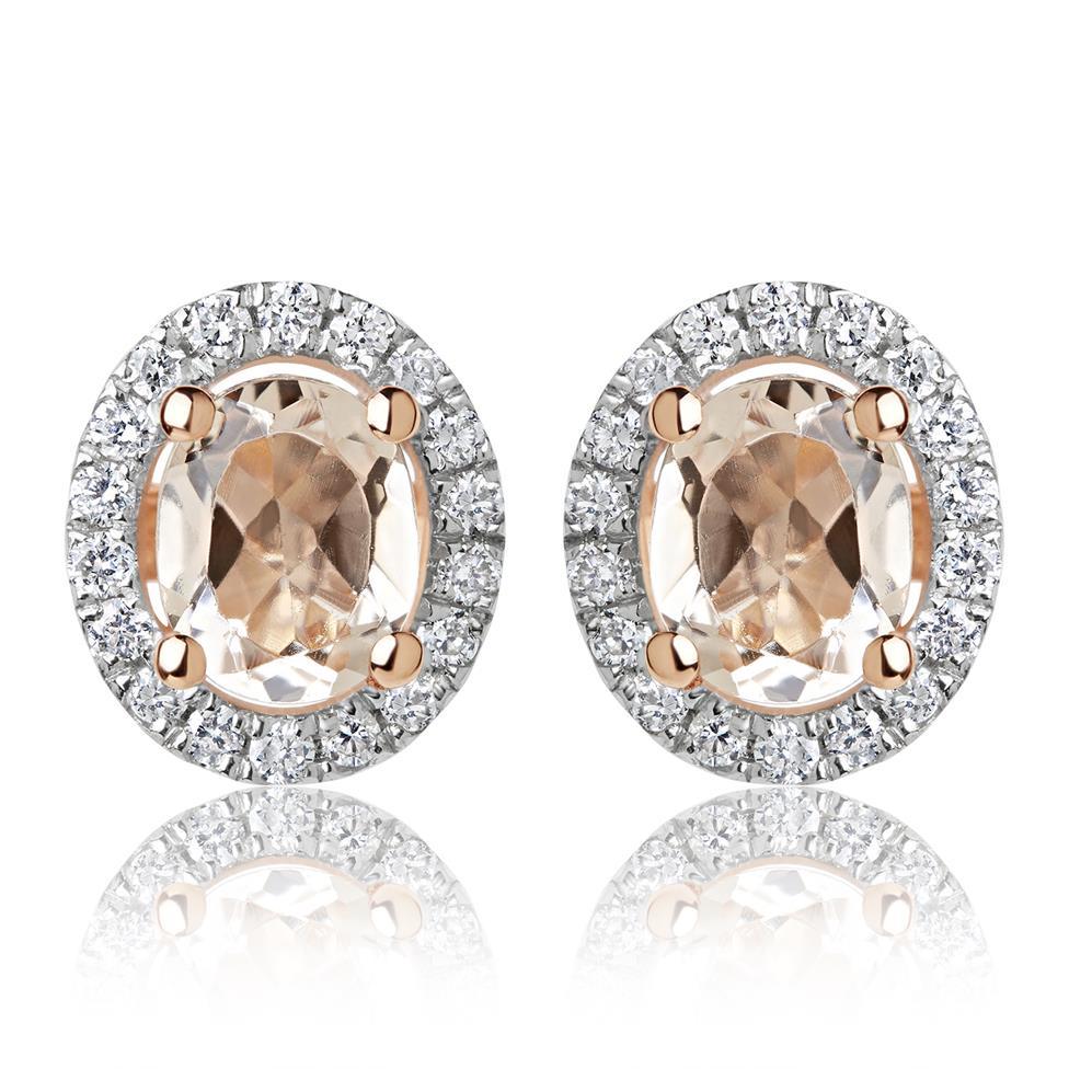 18ct Rose Gold Morganite and Diamond Halo Stud Earrings Thumbnail Image 0