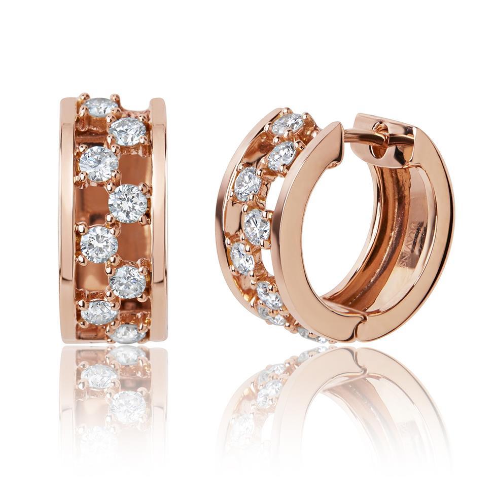 3eccb649bc14 18ct Rose Gold Checkerboard Design Diamond Hoop Earrings