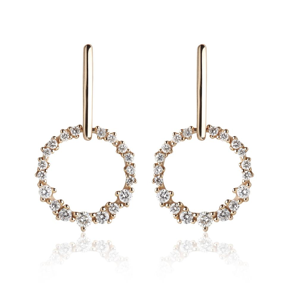 18ct Rose Gold Garland Design Diamond Drop Earrings Image 1