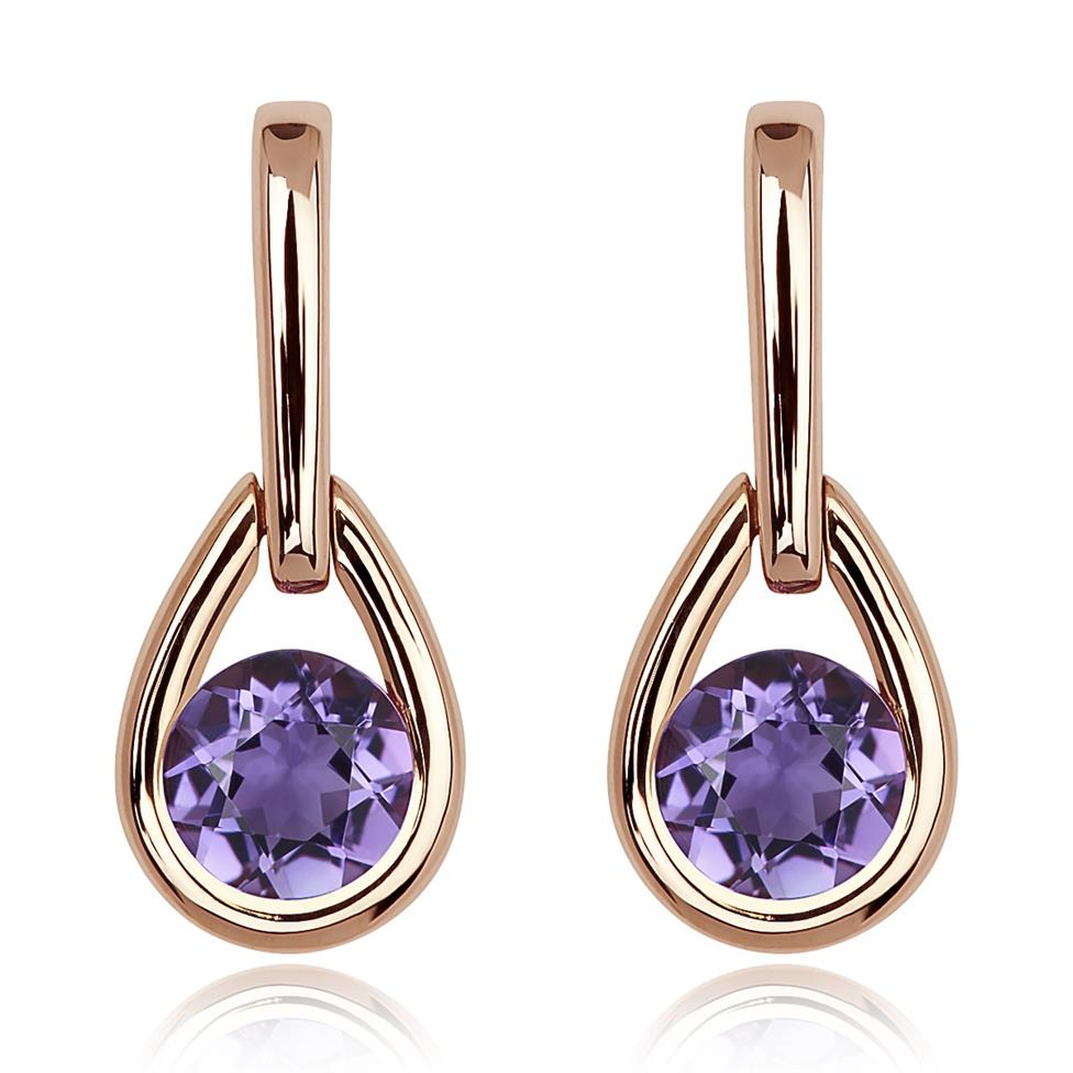 18ct Rose Gold Amethyst Drop Earrings Thumbnail Image 0