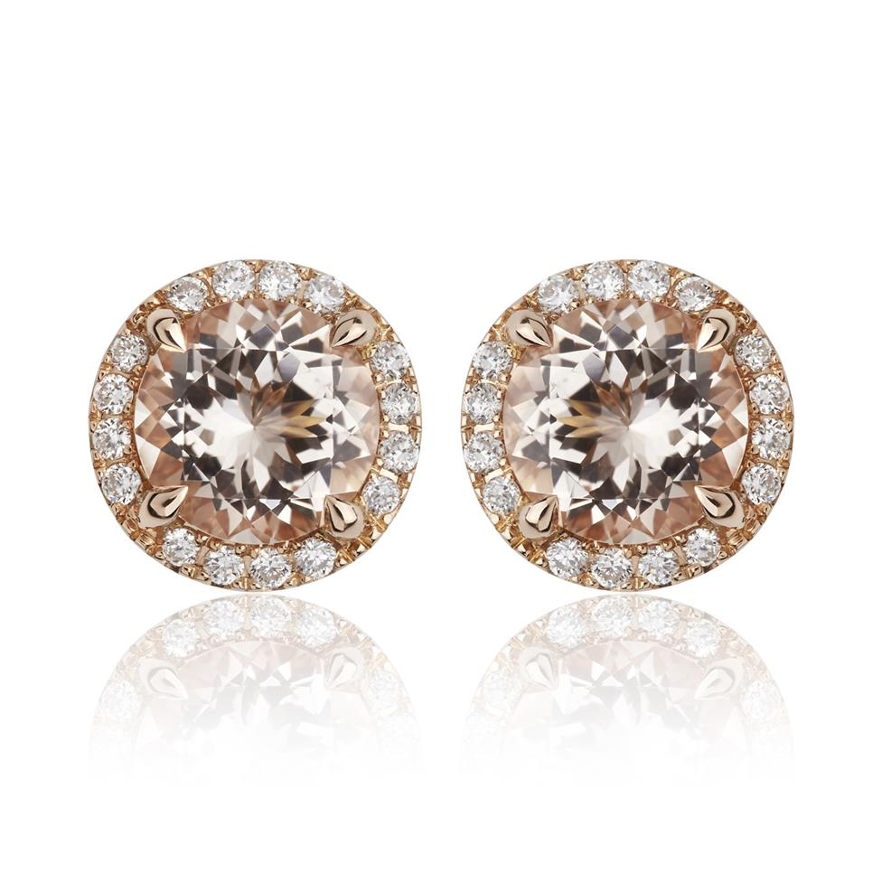 Camellia 18ct Rose Gold Morganite and Diamond Stud Earrings Thumbnail Image 0