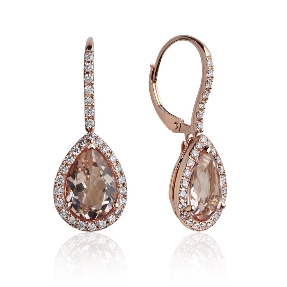 Ortensia 18ct Rose Gold Morganite and Diamond Drop Earrings Thumbnail Image 0