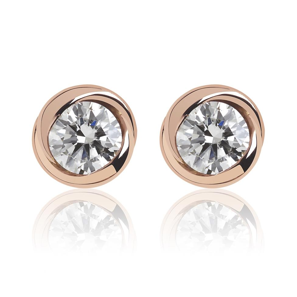 18ct Rose Gold Rosebud Diamond Stud Earrings Image 1