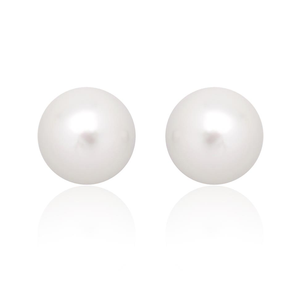 18ct White Gold 7.5mm White Akoya Pearl Stud Earrings Image 1