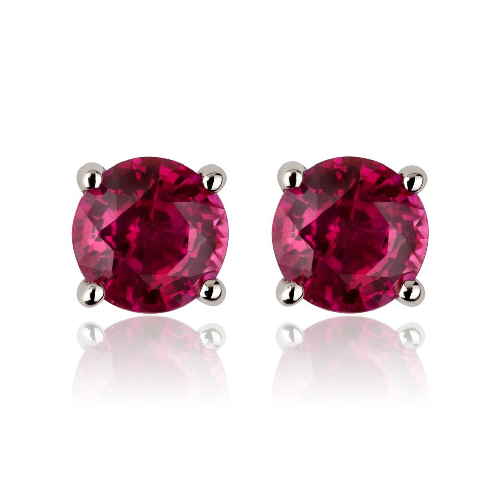 18ct White Gold Solitaire Ruby Stud Earrings Image 1