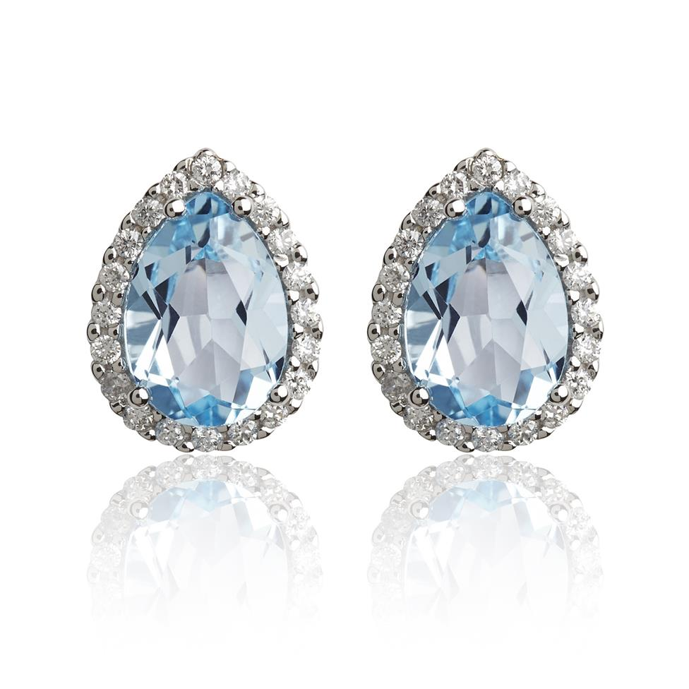 18ct White Gold Pear Shape Topaz and Diamond Stud Earrings Image 1