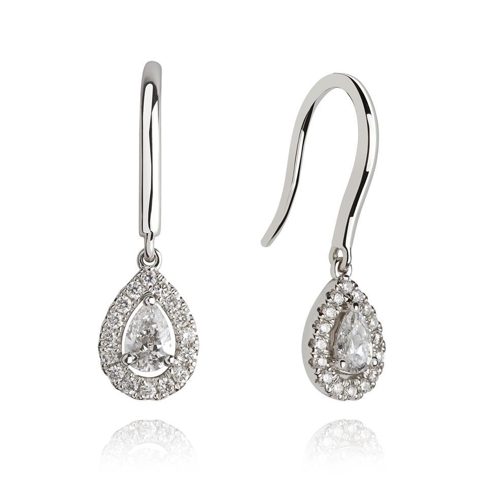 18ct White Gold Pear Shape Diamond Drop Earrings 0.44ct Thumbnail Image 0