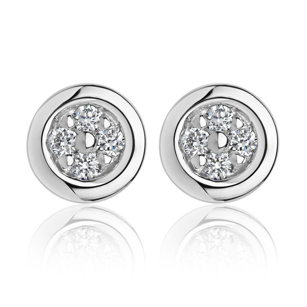 18ct White Gold Illusion Detail Diamond Stud Earrings 0.10ct Thumbnail Image 0