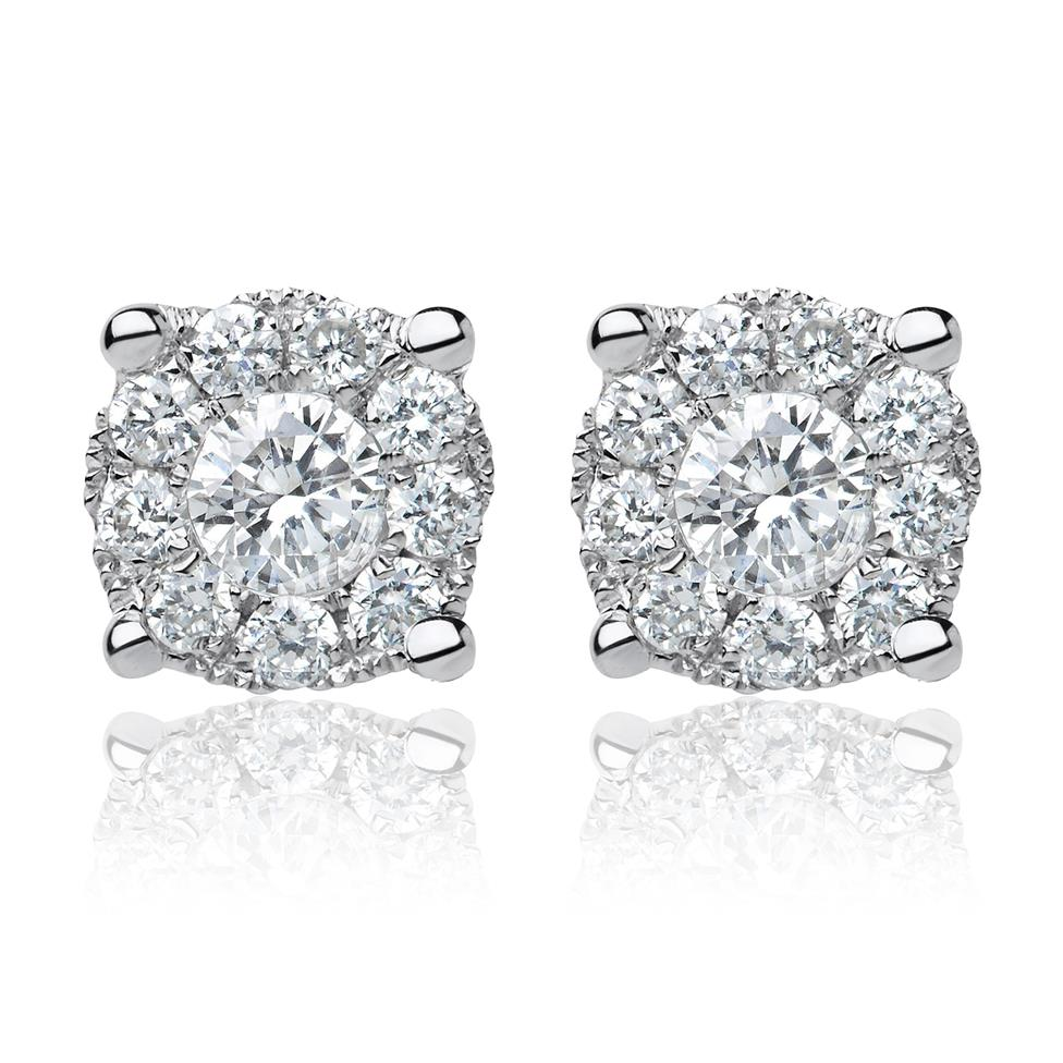 18ct White Gold Illusion Halo Diamond Stud Earrings Thumbnail Image 0