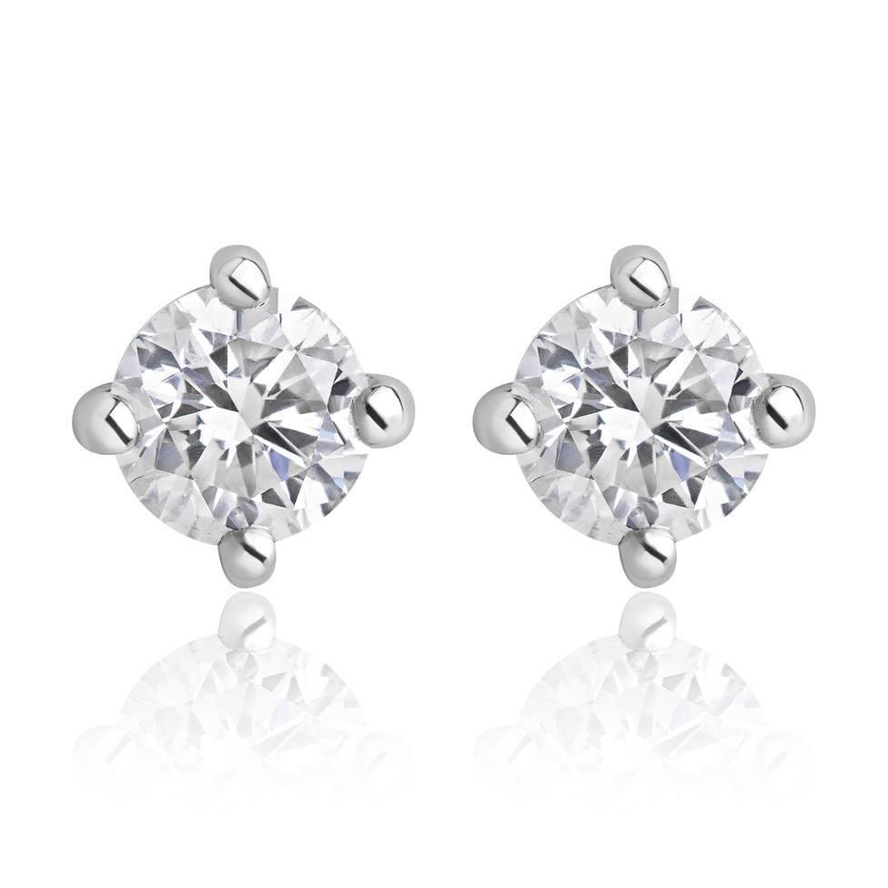 18ct White Gold Diamond Essentials Solitaire Stud Earrings Image 1