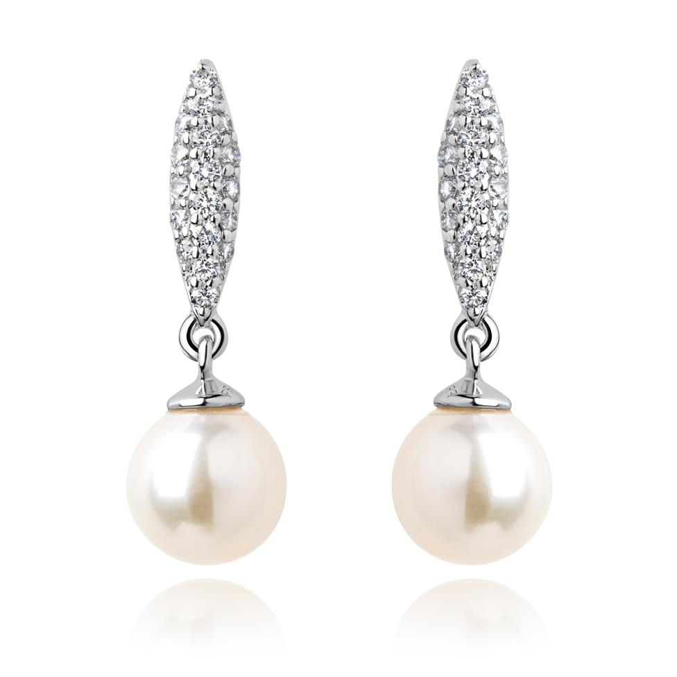 18ct White Gold Marquise Pearl and Diamond Drop Earrings Image 1