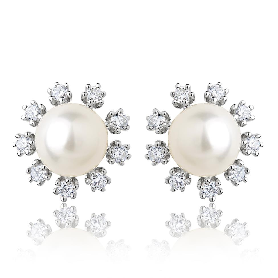 18ct White Gold Flower Freshwater Pearl and Diamond Stud Earrings Image 1