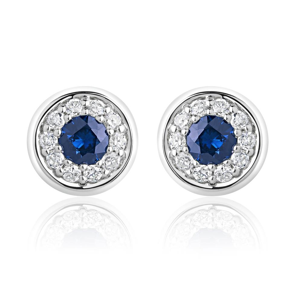 18ct White Gold Sapphire and Diamond Halo Stud Earrings Thumbnail Image 0
