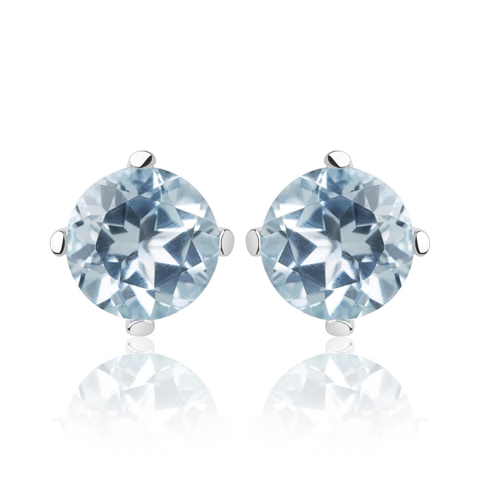 18ct White Gold Blue Topaz Solitaire Stud Earrings Thumbnail Image 0