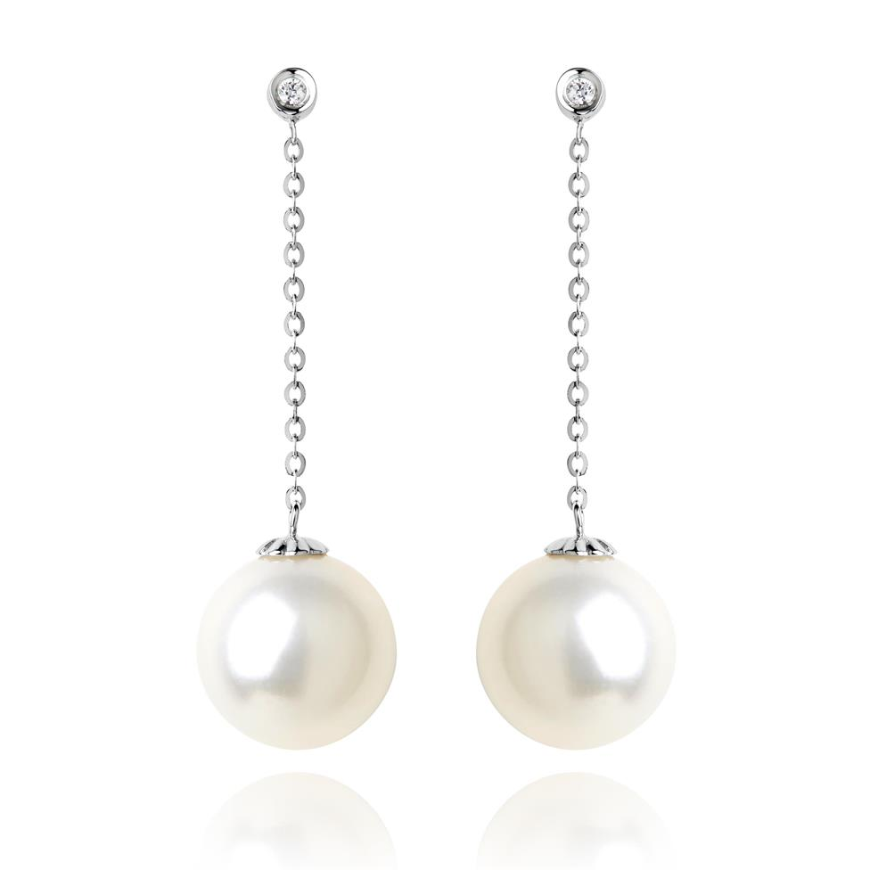18ct White Gold Pearl and Diamond Chain Drop Earrings Image 1