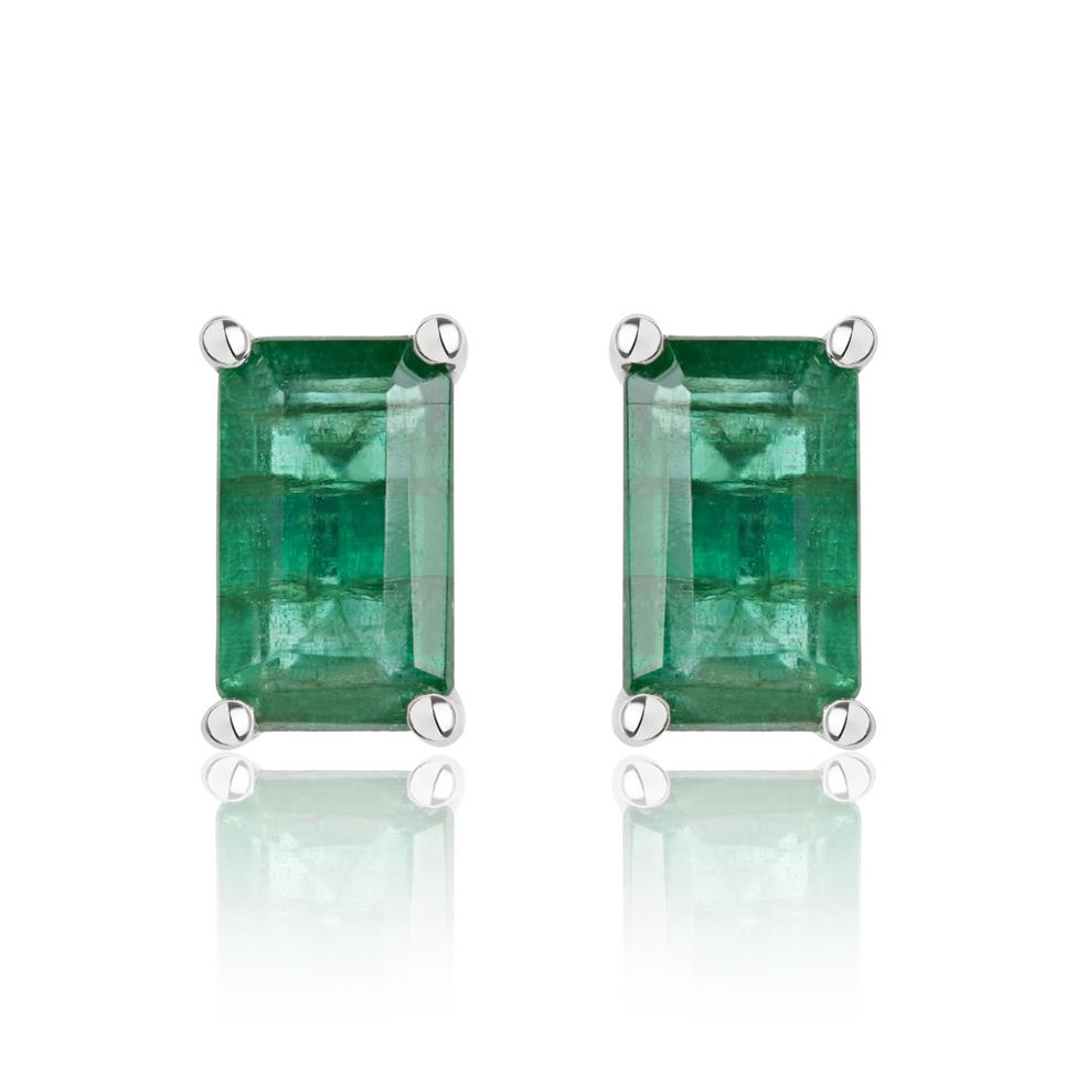 18ct White Gold Emerald Solitaire Stud Earrings Thumbnail Image 0