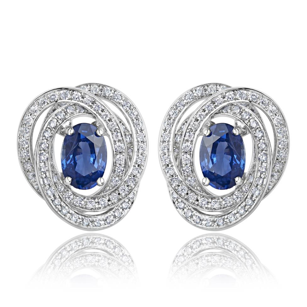 18ct White Gold Sapphire and Diamond Knot Halo Earrings Image 1