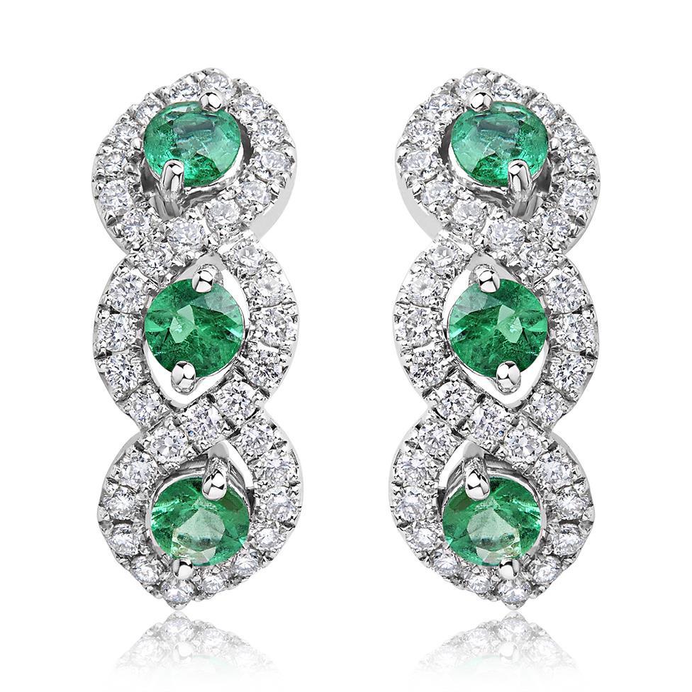 Oriana 18ct White Gold Emerald and Diamond Semi Hoop Earrings Thumbnail Image 0