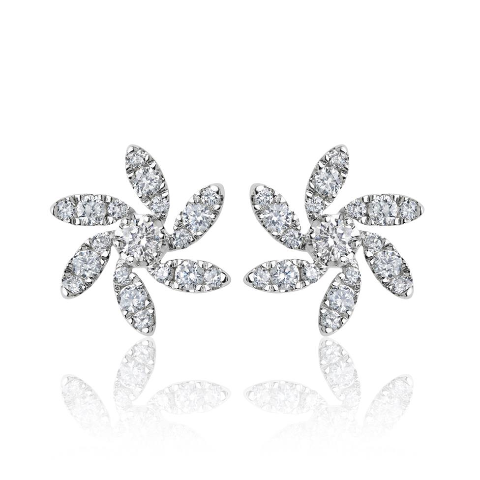Flower 18ct White Gold Diamond Earrings Thumbnail Image 1