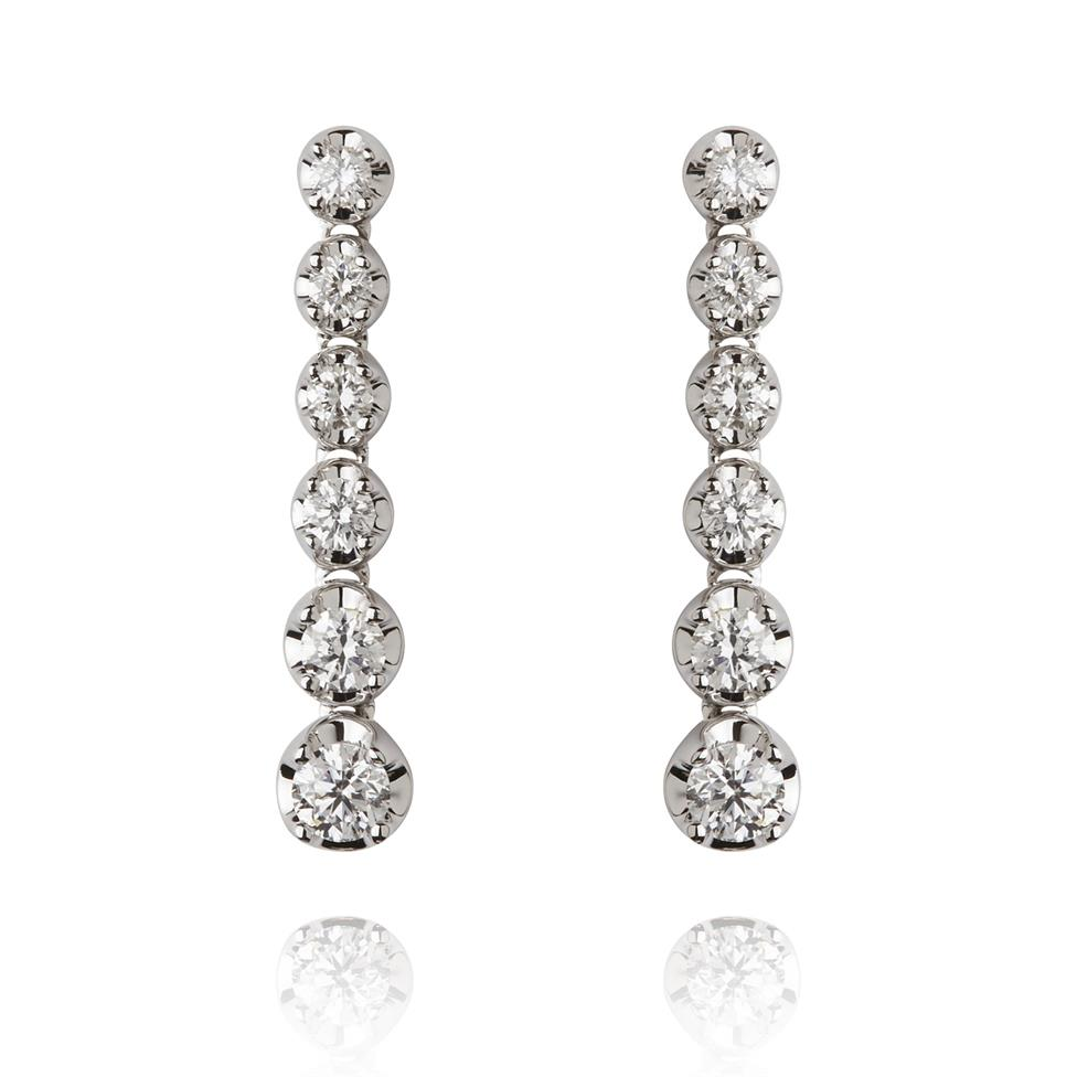 18ct White Gold Graduated Diamond Drop Earrings Thumbnail Image 0